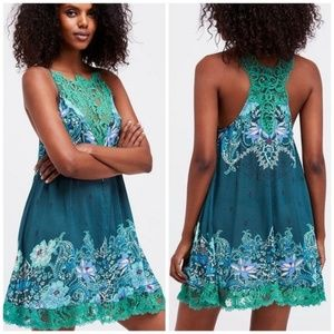 Free People Who's Sorry Now Slip Dress Print Lace